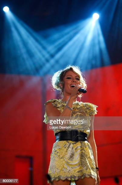 Natalie Bassingthwaighte of the Rogue Traders performs during the 2008 Allan Border Medal at Crown Casino on February 26, 2008 in Melbourne,...