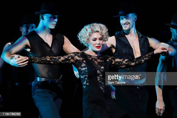 """Natalie Bassingthwaighte performs on stage during a """"Chicago The Musical"""" media call on December 19, 2019 in Melbourne, Australia."""