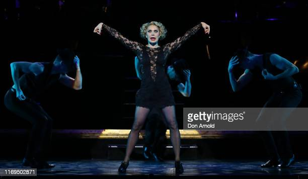 Natalie Bassingthwaighte plays the role of Roxie Hart during a production media call for CHICAGO at Capitol Theatre on August 22, 2019 in Sydney,...