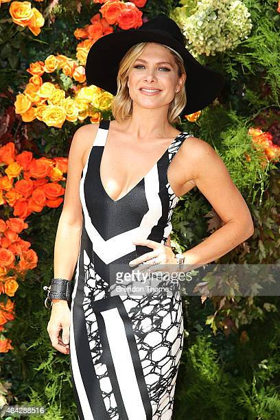 Natalie Bassingthwaighte poses at Rosehill Gardens as part of the Sydney Autumn Racing Launch on February 24 2015 in Sydney Australia