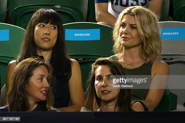Natalie Bassingthwaighte watches the semi final match between Serena Williams of the United States and Agnieszka Radwanska of Poland during day 11 of...
