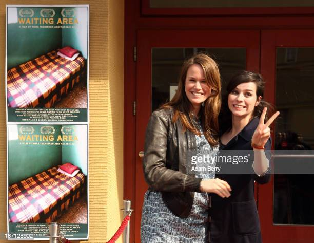 Natalie Beer and Nora Tschirner arrive for the premiere of the film 'Waiting Area' at Kino Babylon on April 21 2013 in Berlin Germany The documentary...
