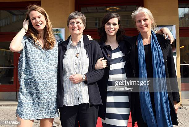 Natalie Beer Rita Schiffer Nora Tschirner and Heike Parplies arrive for the premiere of the film 'Waiting Area' at Kino Babylon on April 21 2013 in...