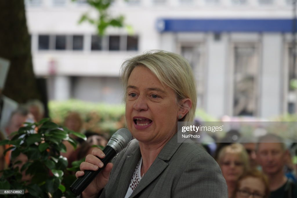 Natalie Bennett delivers a speach during a animal rights activists protest though central London, UK, on 12 August 2017. As the Grouse shooting season starts in the UK, animal conservation protesters march though London to protest against the hunting of the UK's wildlife.