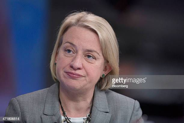 Natalie Bennett leader of the Green Party pauses during a Bloomberg Television interview in London UK on Friday May 1 2015 A nationwide Green Party...