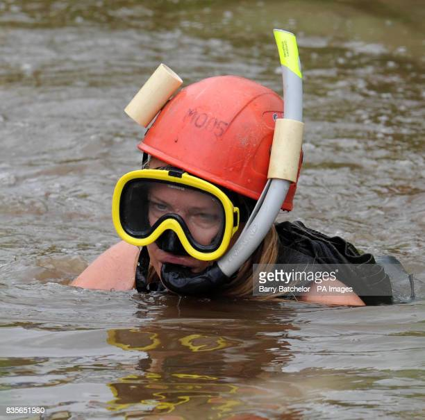 Natalie Bent from near Maidstone Kent during the World Mountain Bike Bog Snorkelling Championships at Llanwrtyd Wells She completed the course in 2...
