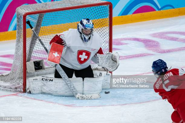 Natalie Brichova of Czech Republic shoots against Goalkeeper Margaux Favre of Switzerland during Women's 6-Team Tournament Preliminary Round - Group...