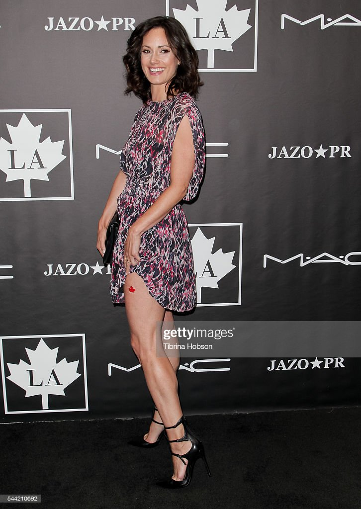 Natalie Brown shows her maple leaf tattoo at the Golden Maple Awards 2016 at Mohawk Bend on July 1, 2016 in Los Angeles, California.