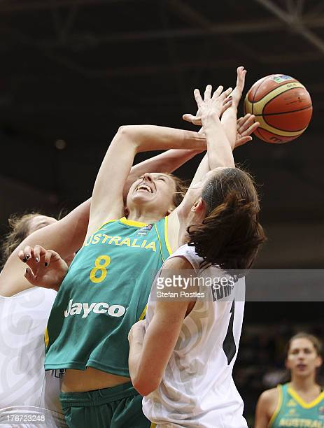 Natalie Burton of the Opals contests possession during the Women's FIBA Oceania Championship match between the Australian Opals and the New Zealand...