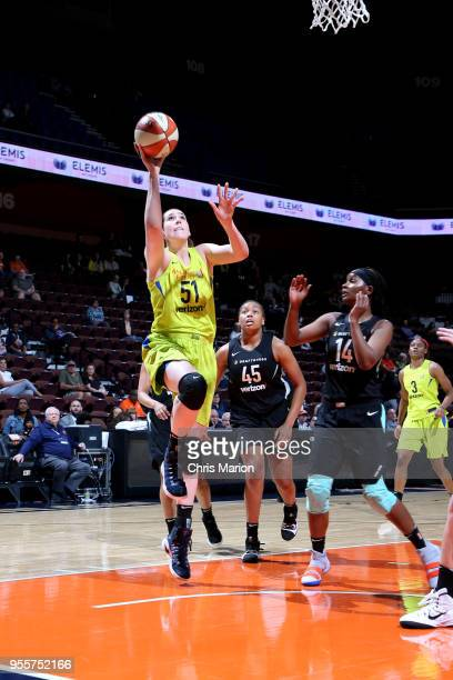 Natalie Butler of the Dallas Wings shoots the ball against the New York Liberty during a preseason game on May 7 2018 at Mohegan Sun Arena in...