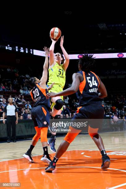 Natalie Butler of the Dallas Wings shoots the ball against the Connecticut Sun during a preseason game on May 8 2018 at Mohegan Sun Arena in...