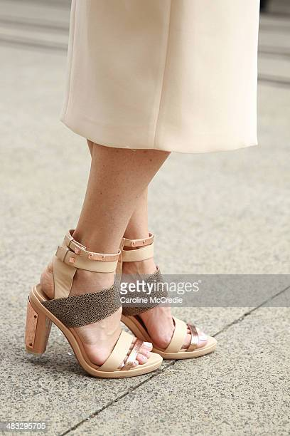 Natalie Cantell, wearing an outfit by Ginger & Smart, arrives at Mercedes-Benz Fashion Week Australia 2014 at Carriageworks on April 8, 2014 in...