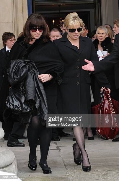 Natalie Cassidy and Letitia Dean attend the funeral of actress Wendy Richard at St Mary's Church, Marylebone High Street on March 09, 2009 in London,...