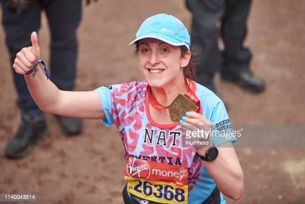 Natalie Cassidy completes the London Marathon and congratulates some of the runners on Sunday April 28th, 2019
