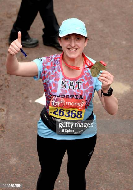 Natalie Cassidy finishes the Virgin London Marathon 2019 on April 28, 2019 in London, United Kingdom.