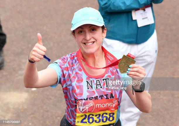 Natalie Cassidy poses with her medal after completing the Virgin London Marathon 2019 on April 28, 2019 in London, United Kingdom.