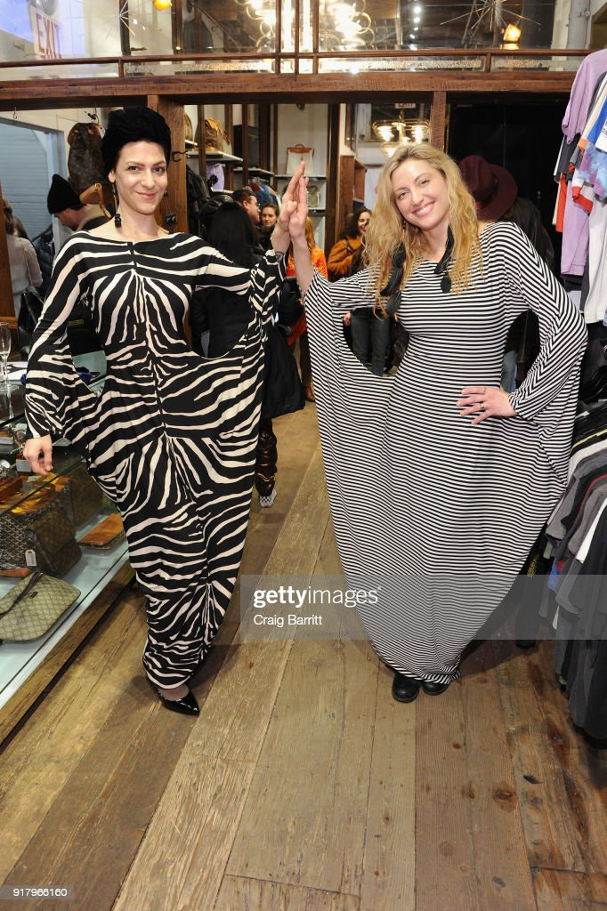 Natalie Como (L) and Heather Kartoff attend Vintage For The Future: A Norma Kamali Retrospective by What Goes Around Comes Around on February 13, 2018 in New York City.