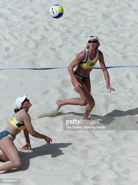 Natalie Cook and Kerri Pottharst in action during the beach volleyball semi finals against Italy at the Sydney Olympics on 23 September 2000 SMH...