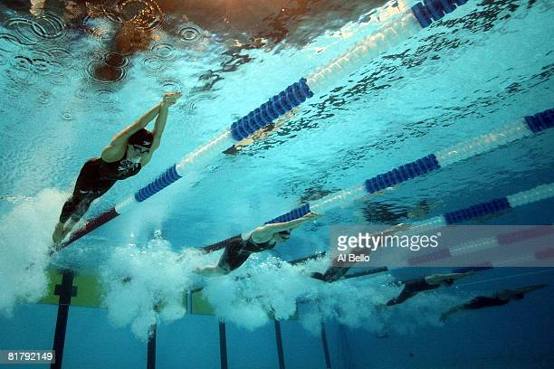 Natalie Coughlin Ariana Kukors Alicia Aemisegger and Elizabeth Beisel swim the preliminary heats of the 200 meter individual medley during the US...