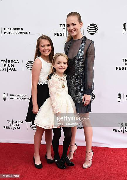 Natalie Coughlin McKenna Grace and Britt Robertson attend Mr Church Premiere during 2016 Tribeca Film Festival on April 22 2016 in New York City