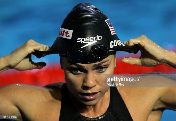 Natalie Coughlin of the USA looks on following her victory and championship record time during the Women's 100m Freestyle Semifinal during the XII...