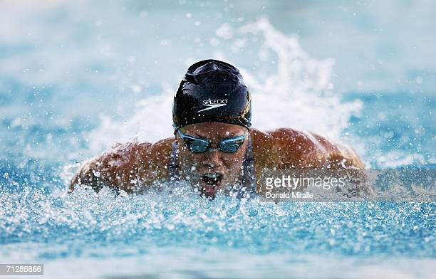 Natalie Coughlin of the USA swims to win the Women's 100M Butterfly Final in a new meet record time during the Santa Clara XXXIX International Swim...