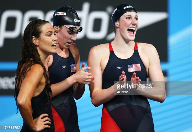 Natalie Coughlin Shannon Vreeland and Missy Franklin of the USA celebrate after the Swimming Women's4x100mFreestyle on day nine of the 15th FINA...
