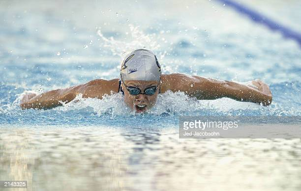 Natalie Coughlin swims in the finals of the womens 100 meter butterfly during the 36th Santa Clara International Swim Meet at the George Haines...