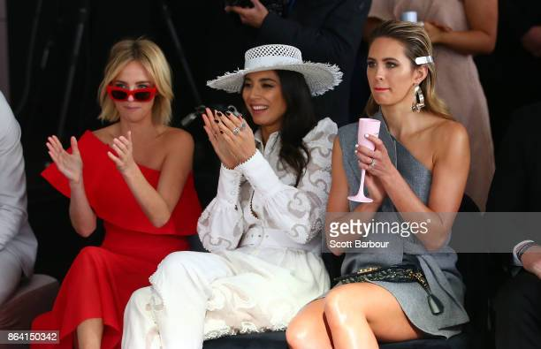Natalie Crocker partner of Adam Goodes Jessica Gomes and Jesinta Franklin attend the David Jones Marquee on Caulfield Cup Day at Caulfield Racecourse...