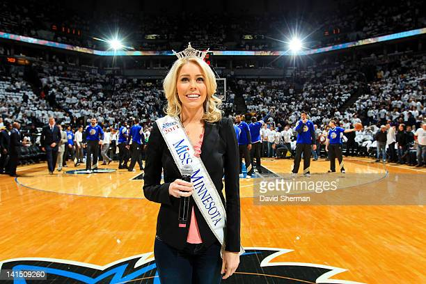 Natalie Davis Miss Minnesota 2011 poses before a game between the Los Angeles Lakers and Minnesota Timberwolves on March 9 2012 at Target Center in...