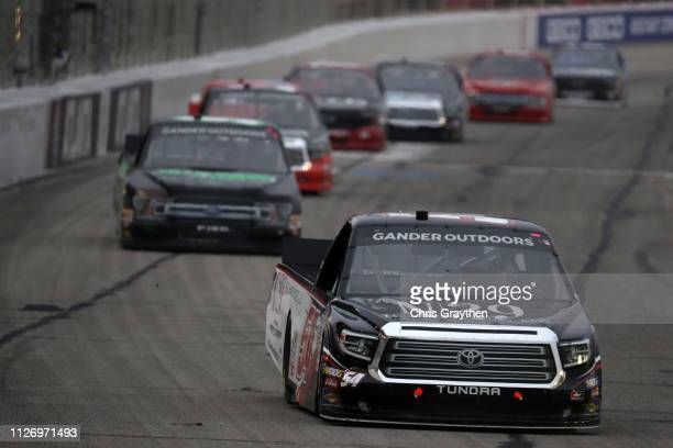 Natalie Decker driver of the N29 Technologies LLC Toyota leads a pack of cars during the NASCAR Gander Outdoors Truck Series Ultimate Tailgating 200...