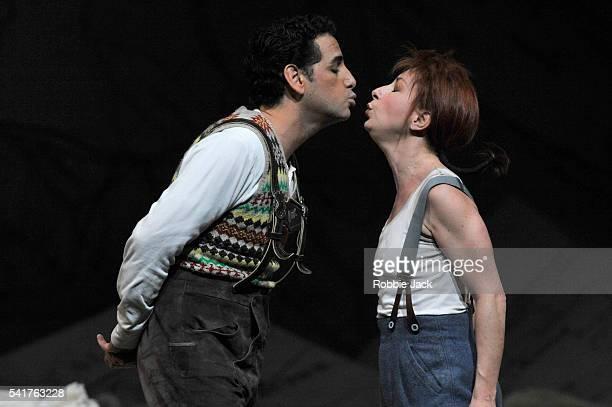 Natalie Dessay as Marie and Juan Diego Florez as Tonioin the Royal Opera's production of Gaetano Donizetti's La Fille Du Regiment directed by Laurent...