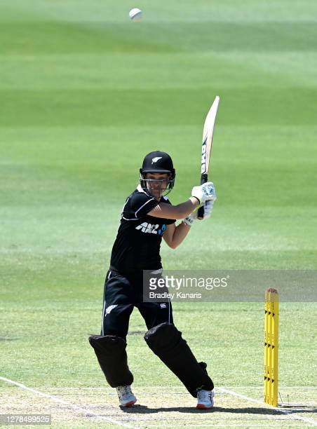 Natalie Dodd of New Zealand hits the ball to the boundary for a four during during game two of the Women's International series between Australia and...