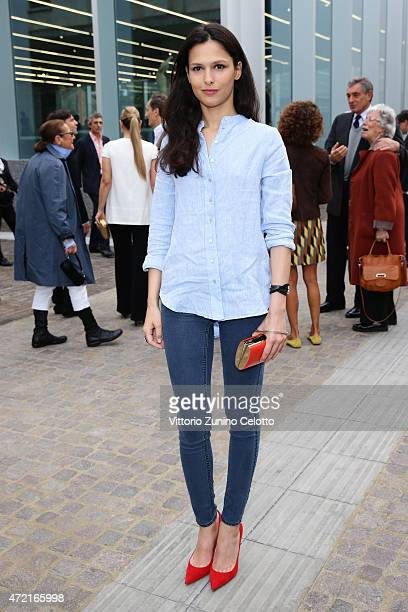 Natalie Dompe attends the Fondazione Prada Opening on May 4 2015 in Milan Italy