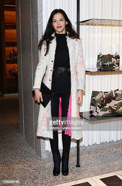 Natalie Dompe attends Valentino Cocktail Party as part of Milan Fashion Week Menswear Autumn/Winter 2013 on January 12 2013 in Milan Italy
