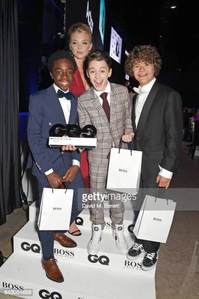 Natalie Dormer and actors Caleb McLaughlin Noah Schnapp and Gaten Matarazzo winner of the Editor's Special award for Stranger Things attend the GQ...