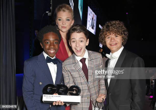 Natalie Dormer and actors Caleb McLaughlin Noah Schnapp and Gaten Matarazzo winner of the Editor's Special award for 'Stranger Things' attend the GQ...