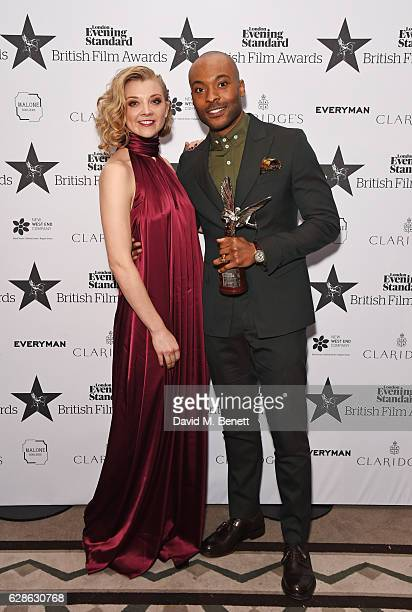 Natalie Dormer and Arinze Kene winner of the Best Supporting Actor award for 'The Pass' pose at The London Evening Standard British Film Awards at...
