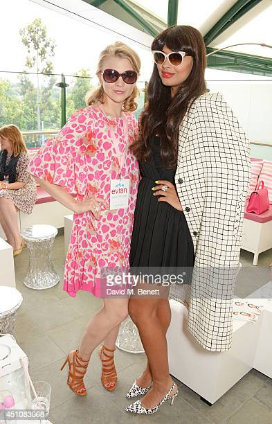 Natalie Dormer and Jameela Jamil attend the evian Live Young suite on the opening day of Wimbledon at the All England Lawn Tennis and Croquet Club on...