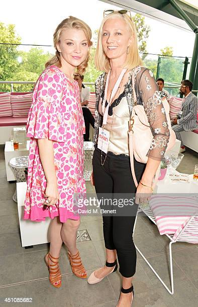 Natalie Dormer and Joely Richardson attend the evian Live Young suite on the opening day of Wimbledon at the All England Lawn Tennis and Croquet Club...