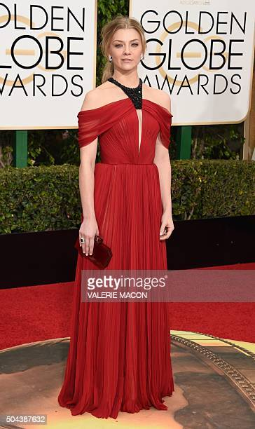 Natalie Dormer arrives at the 73nd annual Golden Globe Awards January 10 at the Beverly Hilton Hotel in Beverly Hills California AFP PHOTO / VALERIE...