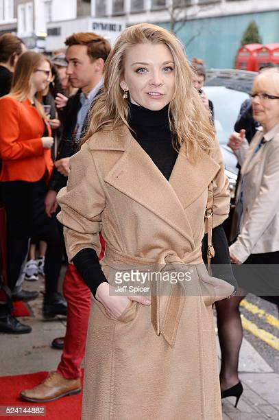 Natalie Dormer arrives for the gala night performance of Doctor Faustus at Duke Of York's Theatre on April 25 2016 in London Englan