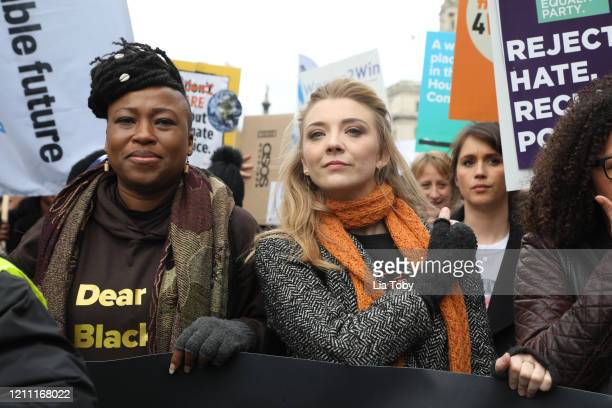 Natalie Dormer during the #March4Women 2020 rally at Southbank Centre on March 08, 2020 in London, England. The event is to mark International...