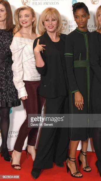 Natalie Dormer Joanna Lumley and Letitia Wright during The EE British Academy Film Award BAFTA nominations announcement at BAFTA on January 9 2018 in...