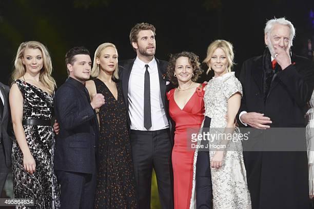 Natalie Dormer Josh Hutcherson Jennifer Lawrence Liam Hemsworth Nina Jacobson Elizabeth Banks and Donald Sutherland attend The Hunger Games...