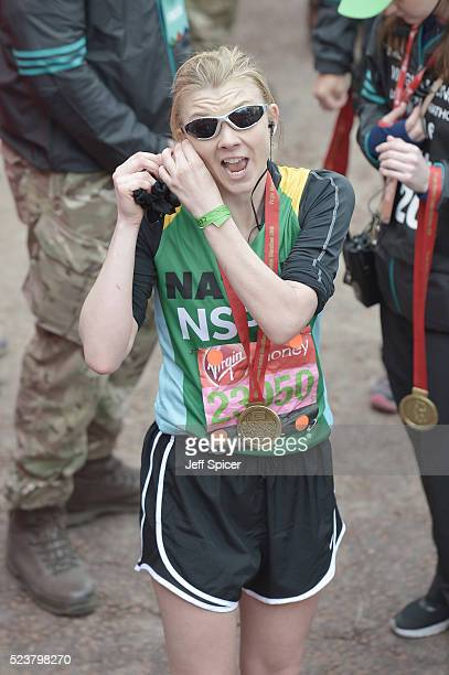 Natalie Dormer poses with her medal after completing the Virgin Money London Marathon on April 24 2016 in London England