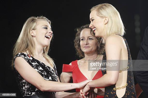 Natalie Dormer Producer Nina Jacobson and Jennifer Lawrence attend The Hunger Games Mockingjay Part 2 UK Premiere at Odeon Leicester Square on...