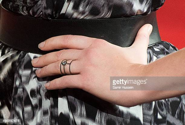 Natalie Dormer ring detail attends The Hunger Games Mockingjay Part 2 UK Premiere at Odeon Leicester Square on November 5 2015 in London England