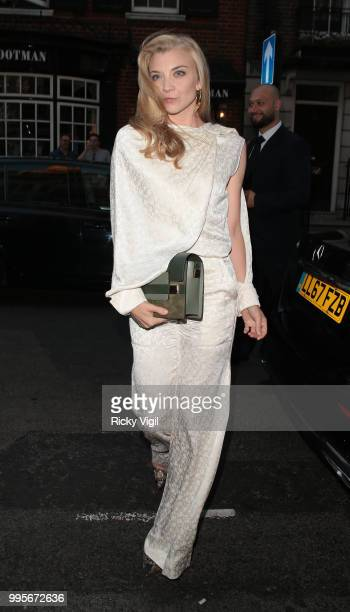 Natalie Dormer seen attending Delvaux x Vogue private dinner at Mark's Club on July 10 2018 in London England