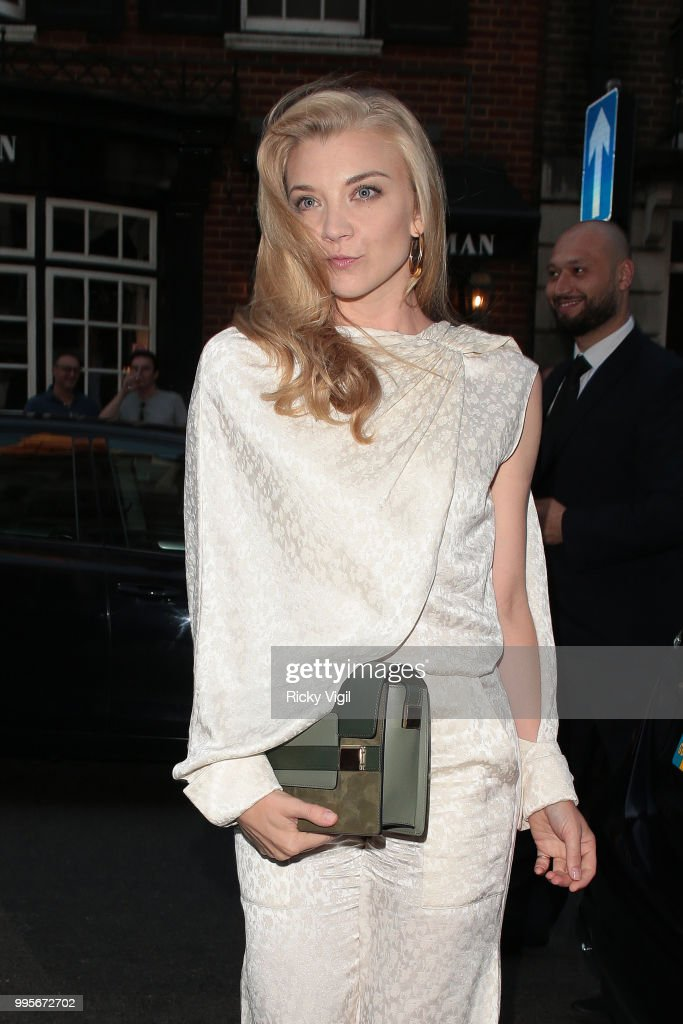 Natalie Dormer seen attending Delvaux x Vogue - private dinner at Mark's Club on July 10, 2018 in London, England.